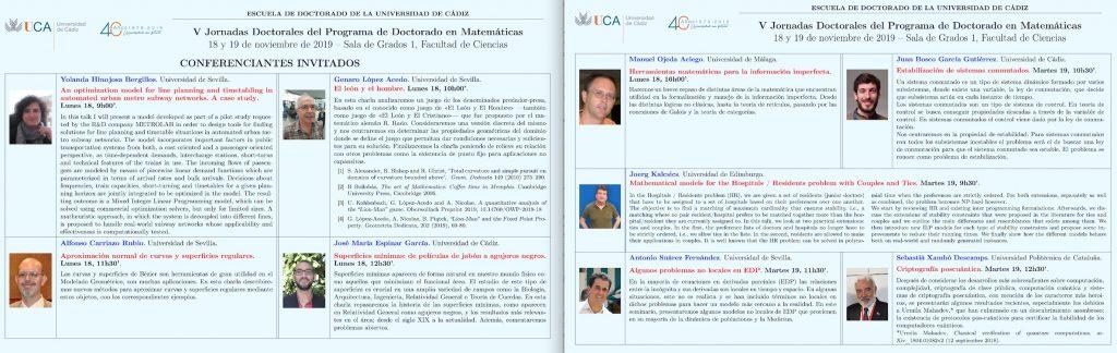 V Jornadas Doctorales del Programa de Doctorado en Matemáticas
